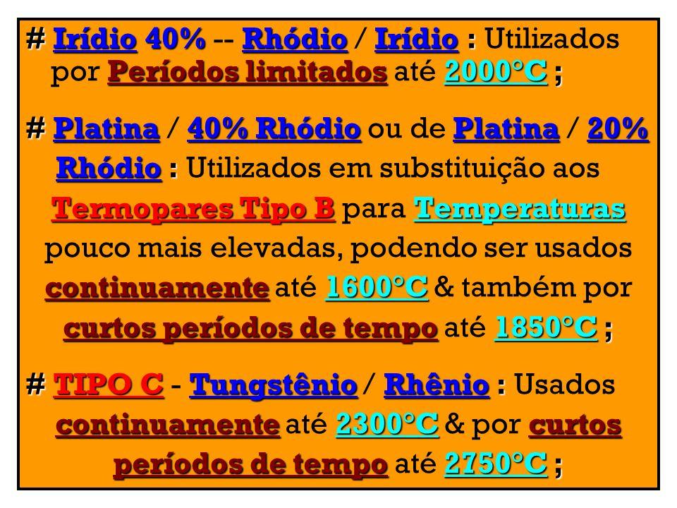 # Platina / 40% Rhódio ou de Platina / 20%