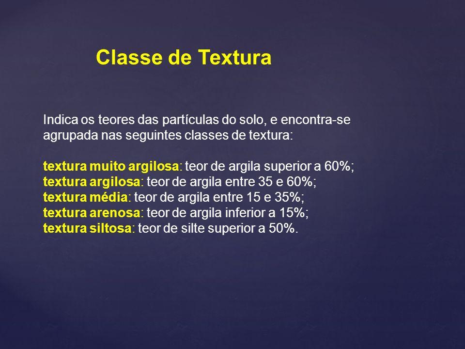 Classe de TexturaIndica os teores das partículas do solo, e encontra-se agrupada nas seguintes classes de textura: