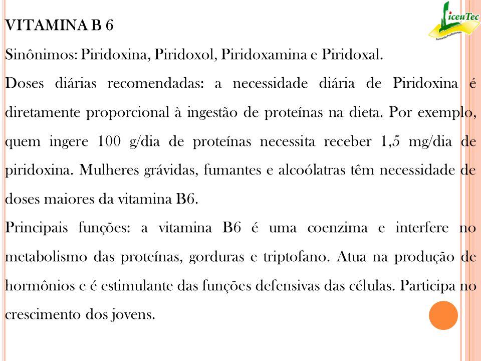 VITAMINA B 6 Sinônimos: Piridoxina, Piridoxol, Piridoxamina e Piridoxal.
