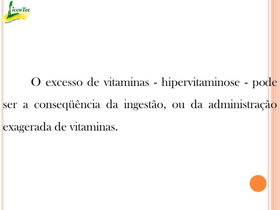 O excesso de vitaminas - hipervitaminose - pode ser a conseqüência da ingestão, ou da administração exagerada de vitaminas.