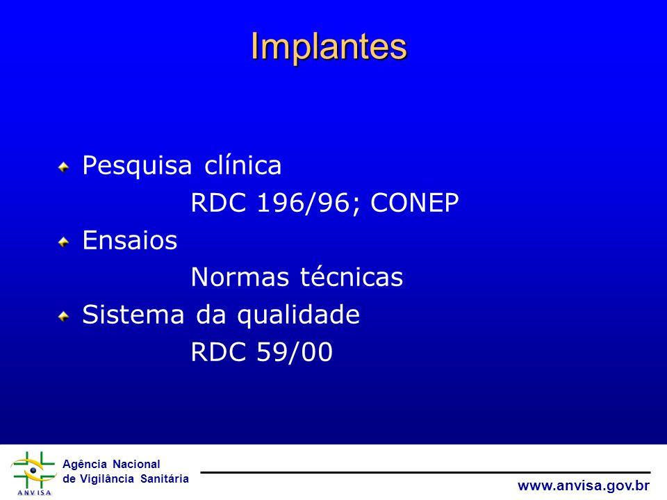 Implantes Pesquisa clínica RDC 196/96; CONEP Ensaios Normas técnicas
