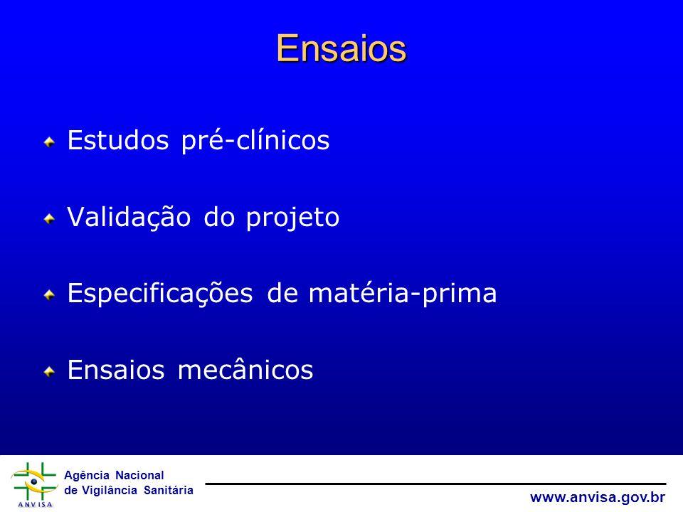 Ensaios Estudos pré-clínicos Validação do projeto