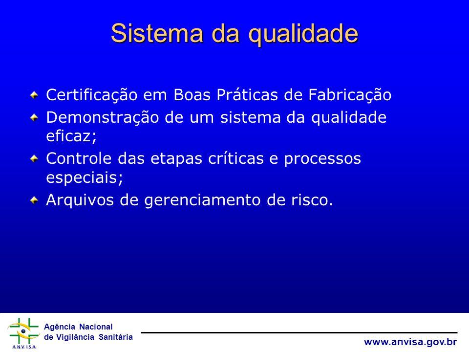 Sistema da qualidade Certificação em Boas Práticas de Fabricação
