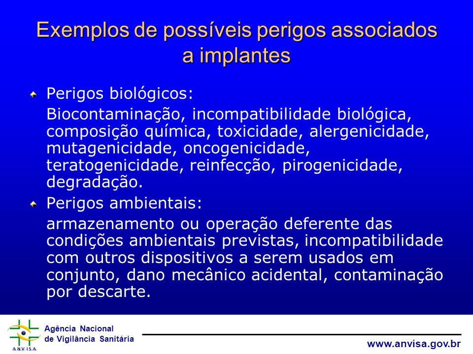 Exemplos de possíveis perigos associados a implantes