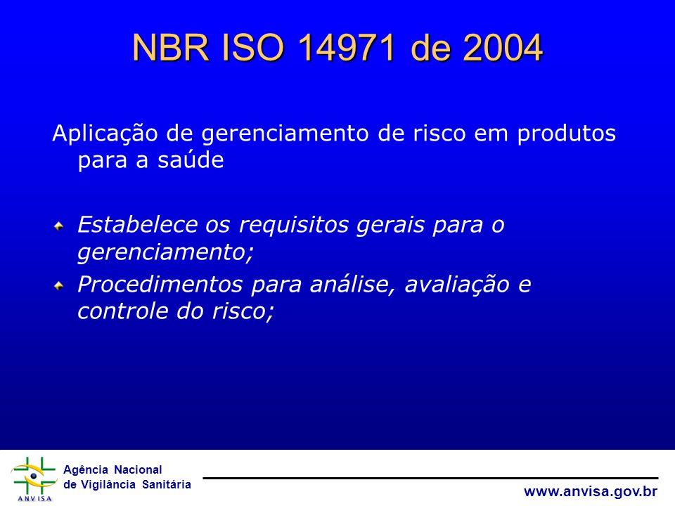 NBR ISO 14971 de 2004 Aplicação de gerenciamento de risco em produtos para a saúde. Estabelece os requisitos gerais para o gerenciamento;