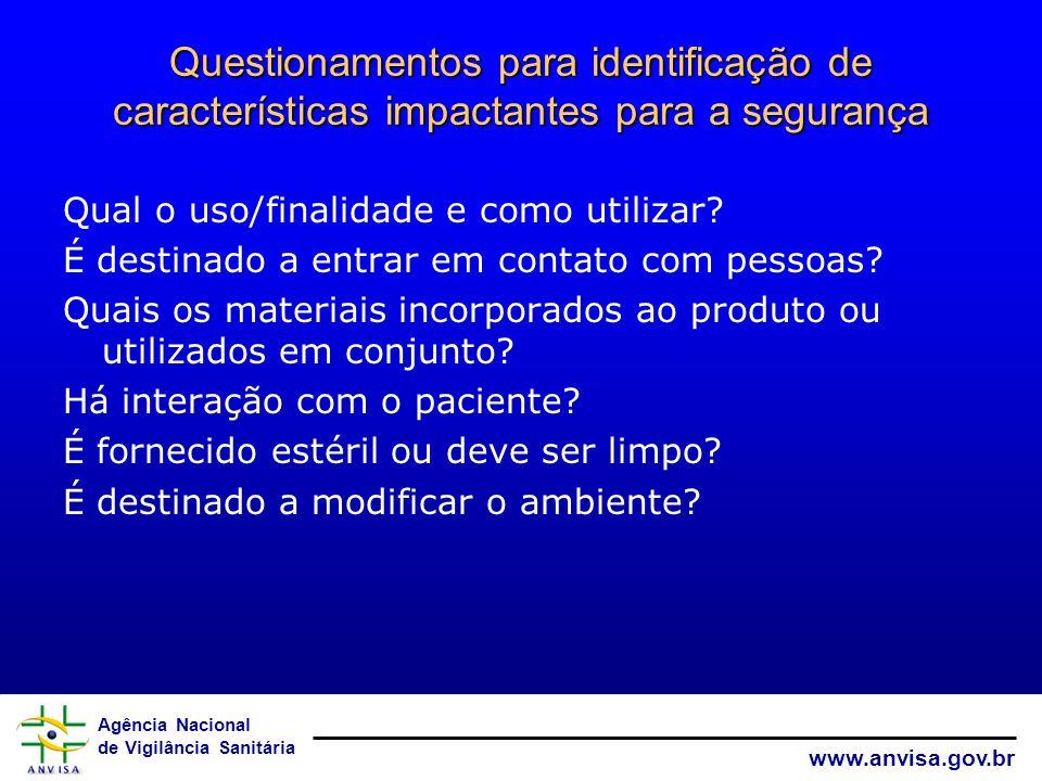 Questionamentos para identificação de características impactantes para a segurança