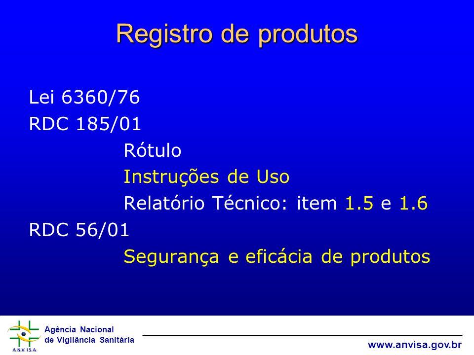 Registro de produtos Lei 6360/76 RDC 185/01 Rótulo Instruções de Uso