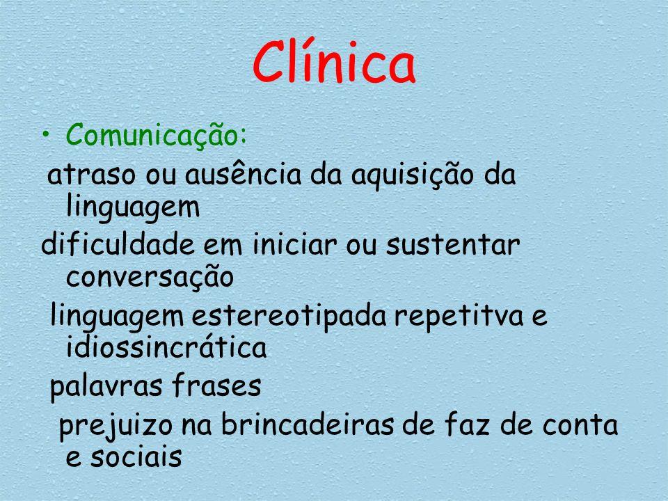 Clínica Comunicação: dificuldade em iniciar ou sustentar conversação