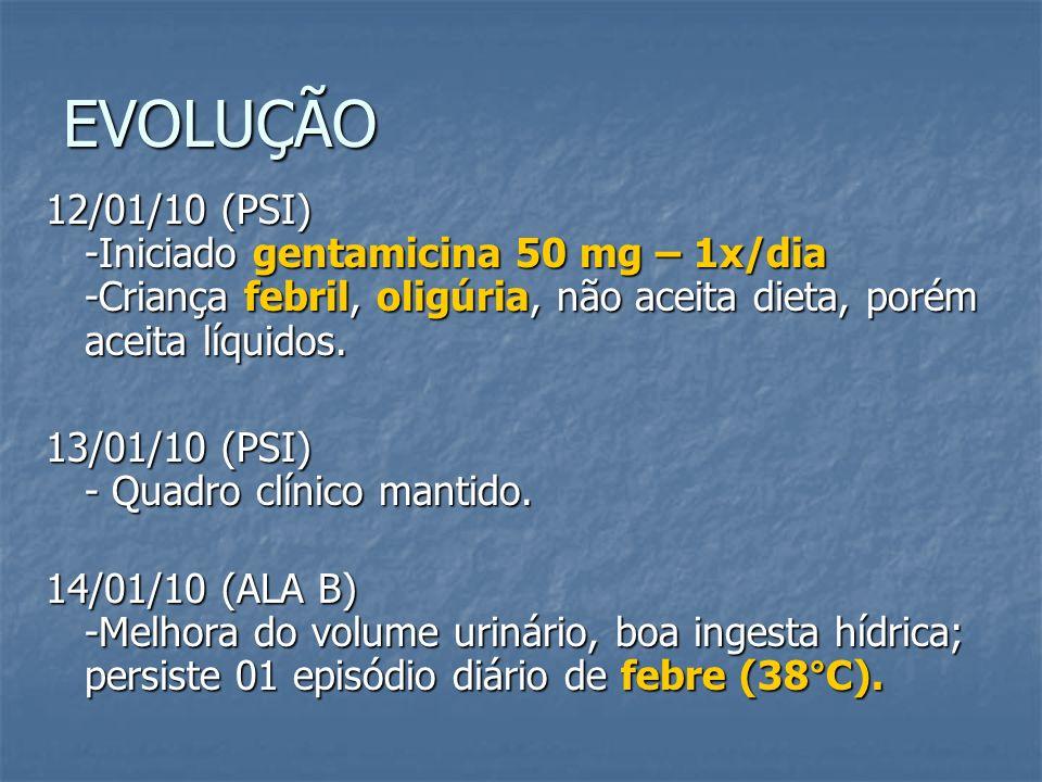 EVOLUÇÃO 12/01/10 (PSI) -Iniciado gentamicina 50 mg – 1x/dia -Criança febril, oligúria, não aceita dieta, porém aceita líquidos.