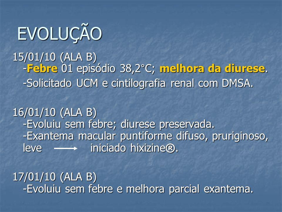 EVOLUÇÃO 15/01/10 (ALA B) -Febre 01 episódio 38,2°C; melhora da diurese. -Solicitado UCM e cintilografia renal com DMSA.