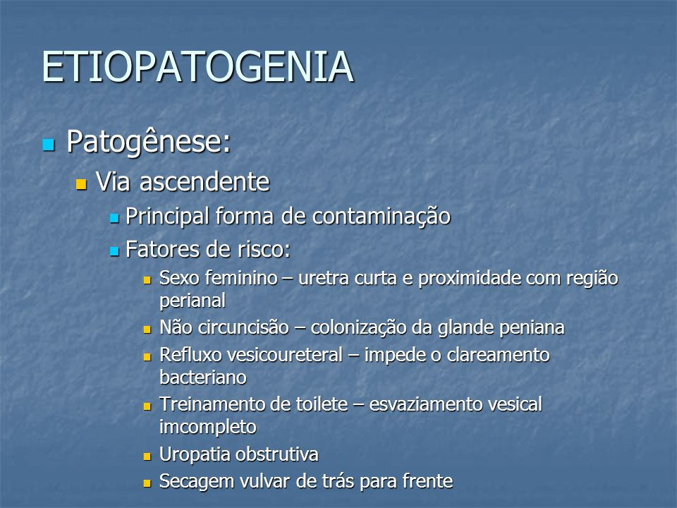 ETIOPATOGENIA Patogênese: Via ascendente