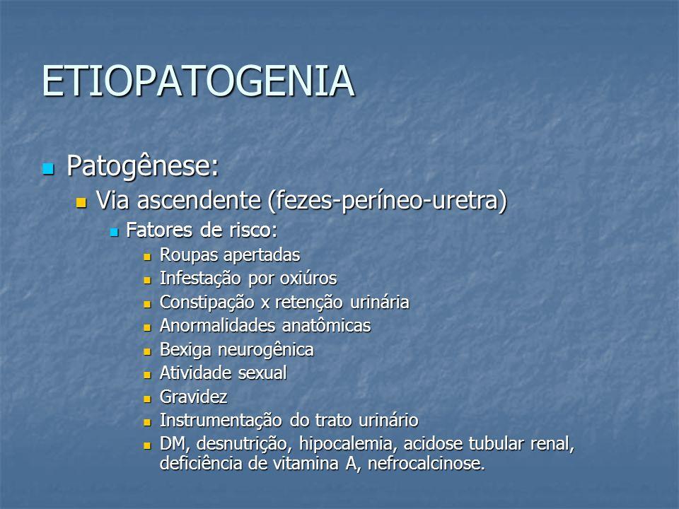 ETIOPATOGENIA Patogênese: Via ascendente (fezes-períneo-uretra)