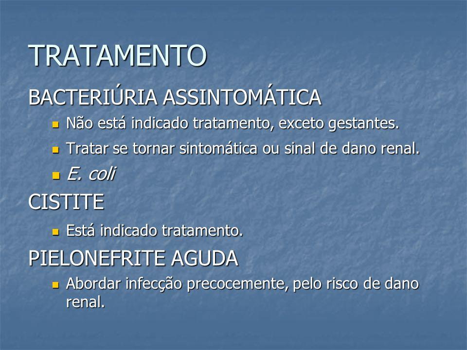 TRATAMENTO BACTERIÚRIA ASSINTOMÁTICA CISTITE PIELONEFRITE AGUDA