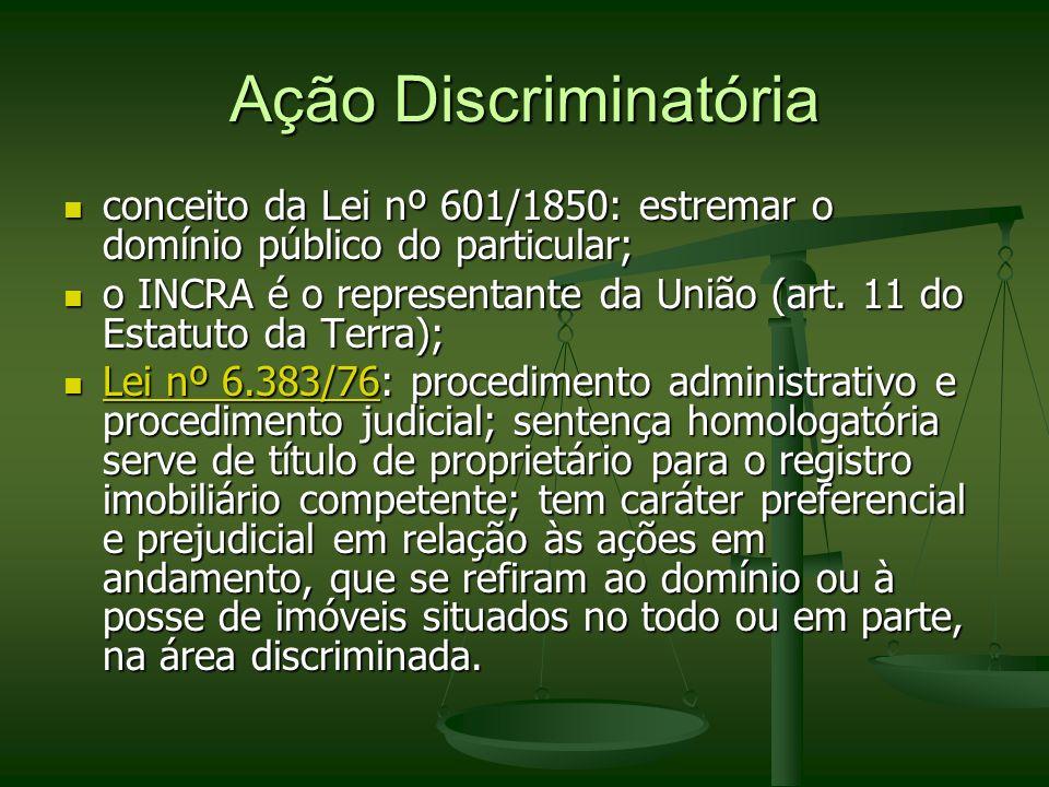 Ação Discriminatóriaconceito da Lei nº 601/1850: estremar o domínio público do particular;
