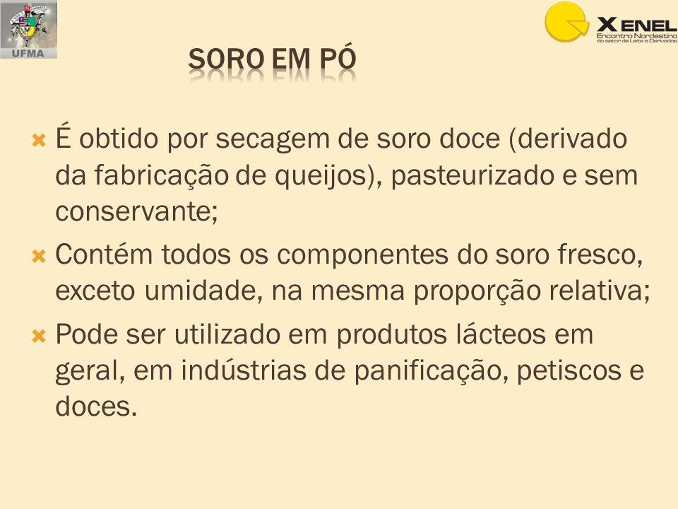 Soro em pó É obtido por secagem de soro doce (derivado da fabricação de queijos), pasteurizado e sem conservante;