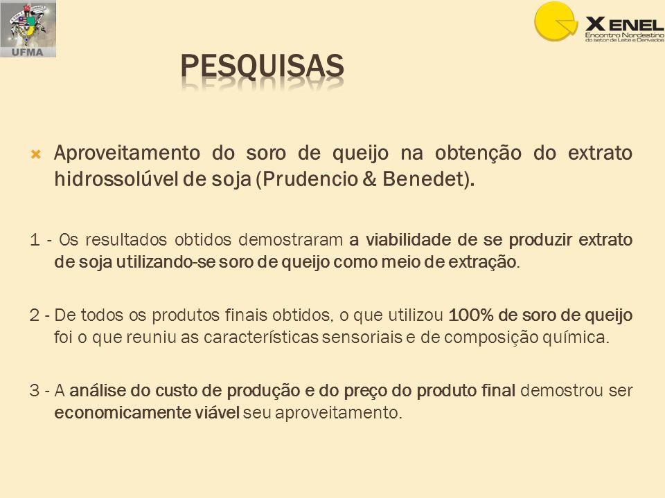 Pesquisas Aproveitamento do soro de queijo na obtenção do extrato hidrossolúvel de soja (Prudencio & Benedet).