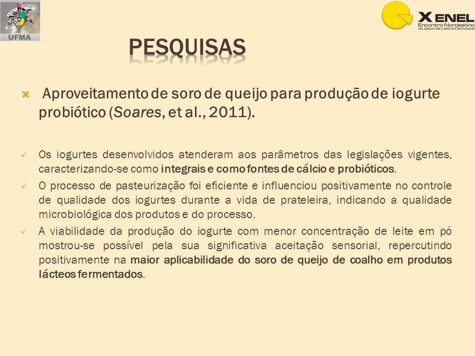 Pesquisas Aproveitamento de soro de queijo para produção de iogurte probiótico (Soares, et al., 2011).