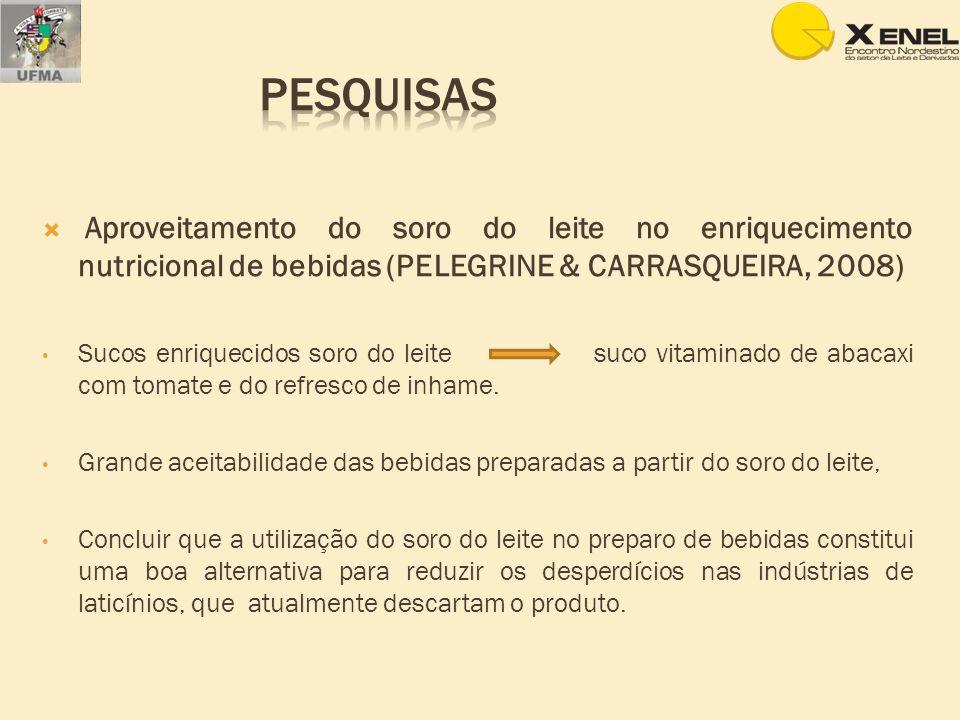 Pesquisas Aproveitamento do soro do leite no enriquecimento nutricional de bebidas (PELEGRINE & CARRASQUEIRA, 2008)
