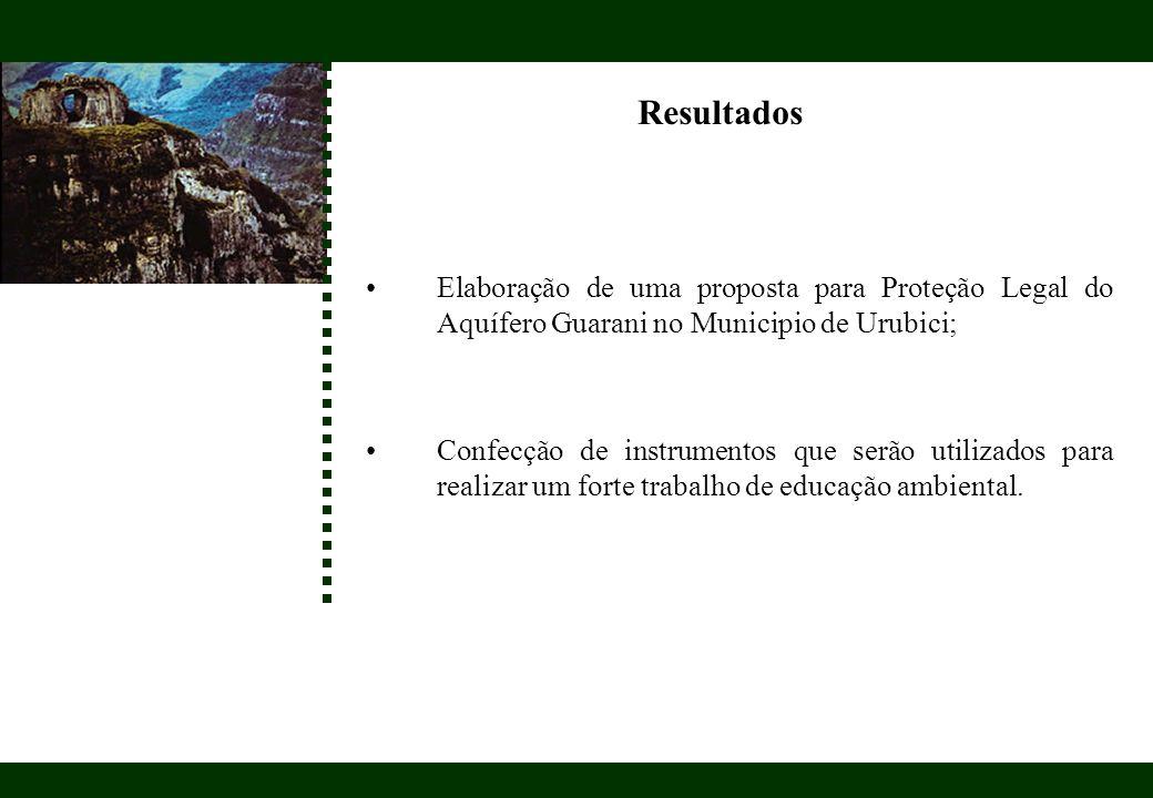 Resultados Elaboração de uma proposta para Proteção Legal do Aquífero Guarani no Municipio de Urubici;