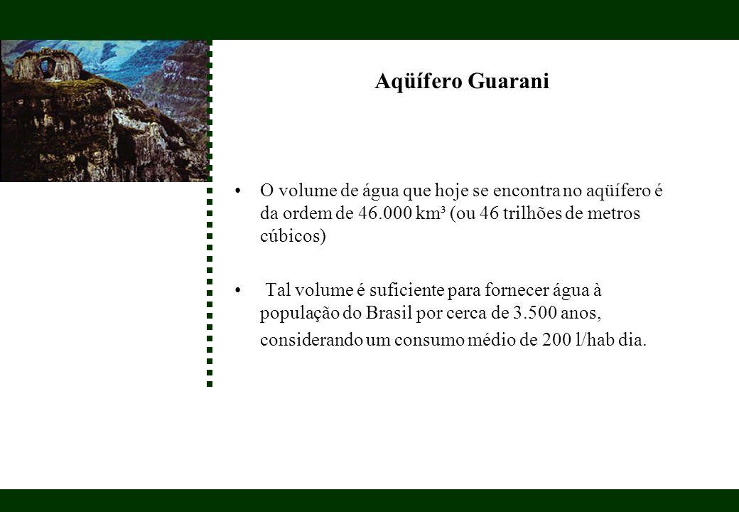 Aqüífero Guarani O volume de água que hoje se encontra no aqüífero é da ordem de 46.000 km³ (ou 46 trilhões de metros cúbicos)