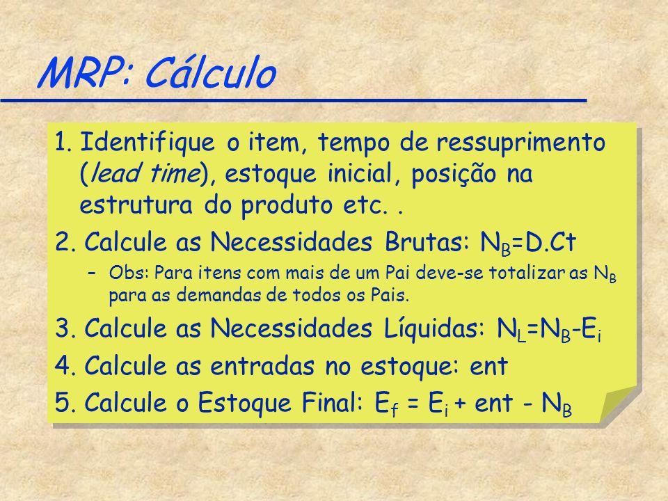 MRP: Cálculo 1. Identifique o item, tempo de ressuprimento (lead time), estoque inicial, posição na estrutura do produto etc. .