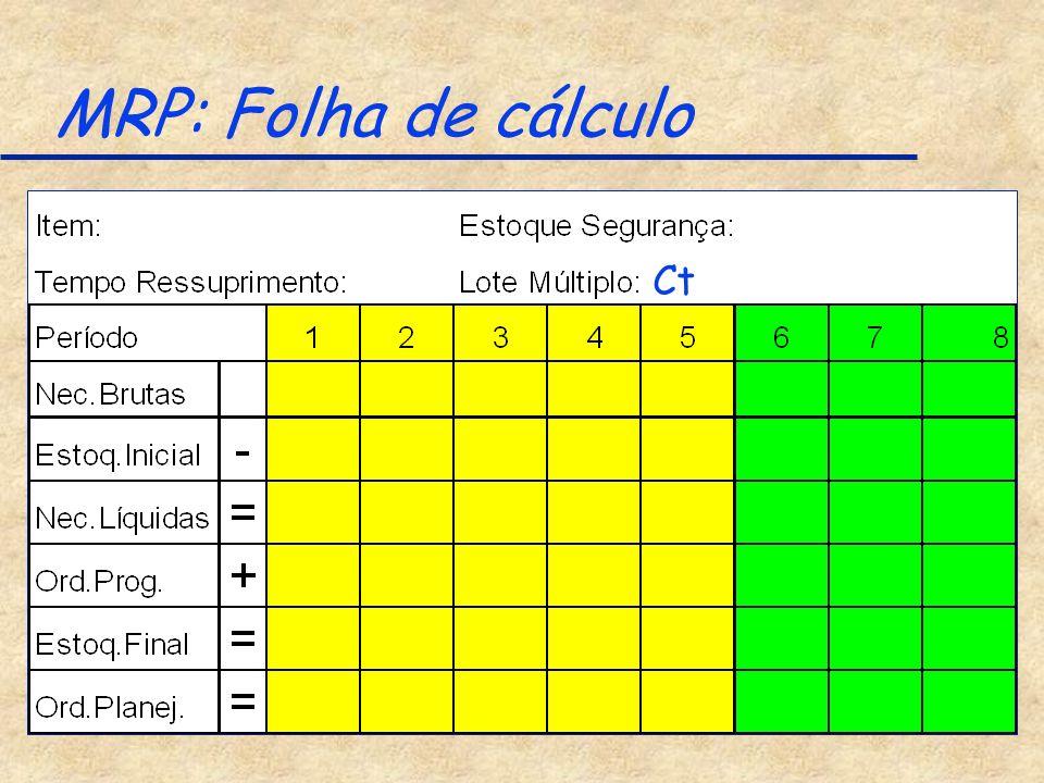 MRP: Folha de cálculo Ct