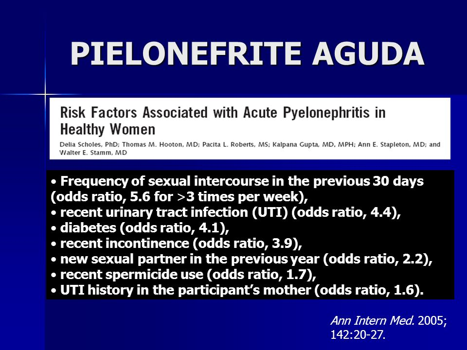 PIELONEFRITE AGUDAFrequency of sexual intercourse in the previous 30 days (odds ratio, 5.6 for >3 times per week),