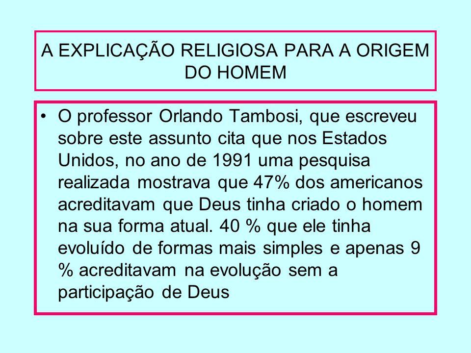 A EXPLICAÇÃO RELIGIOSA PARA A ORIGEM DO HOMEM
