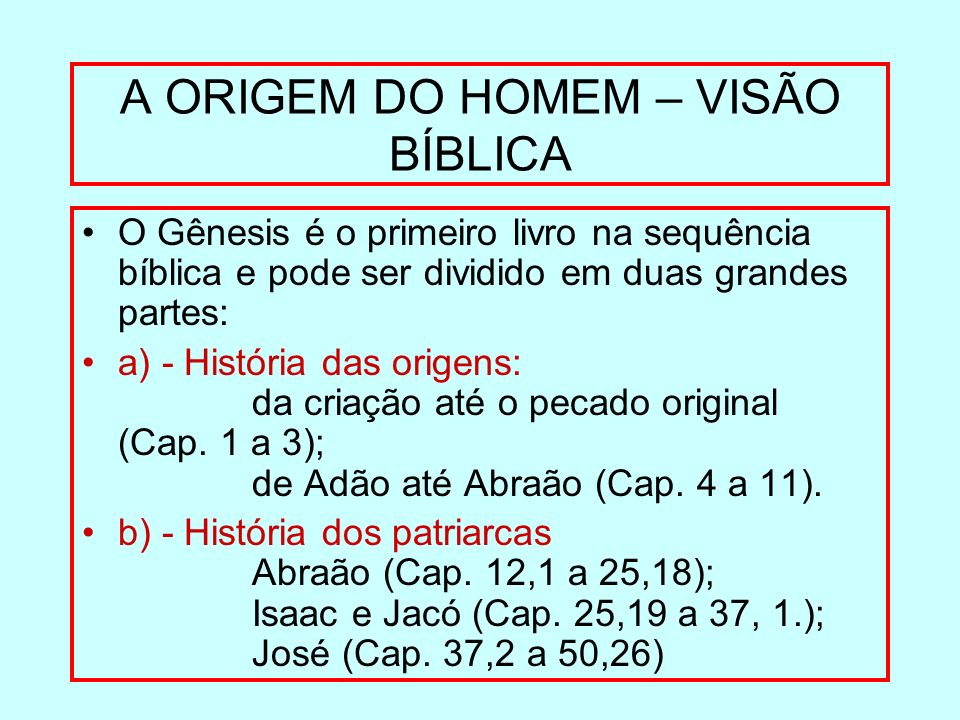 A ORIGEM DO HOMEM – VISÃO BÍBLICA