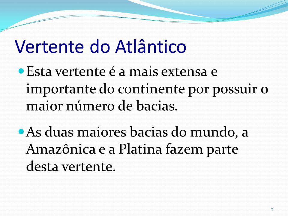 Vertente do Atlântico Esta vertente é a mais extensa e importante do continente por possuir o maior número de bacias.