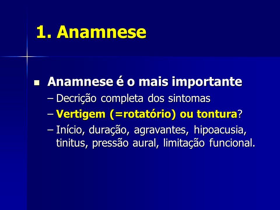 1. Anamnese Anamnese é o mais importante
