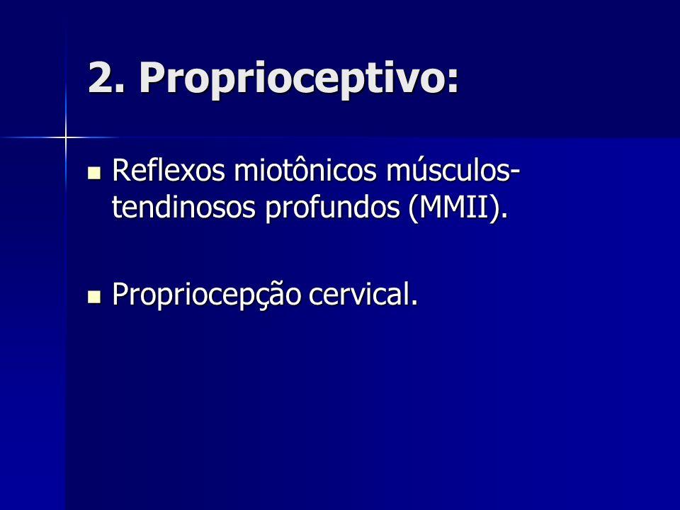 2. Proprioceptivo: Reflexos miotônicos músculos-tendinosos profundos (MMII).