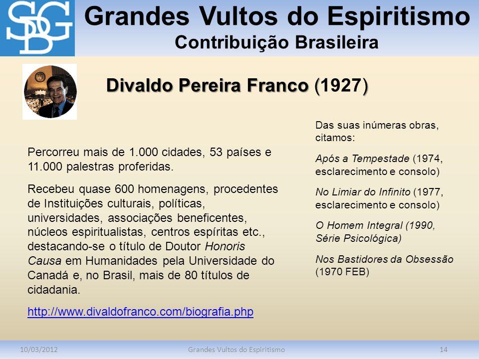 Grandes Vultos do Espiritismo Contribuição Brasileira