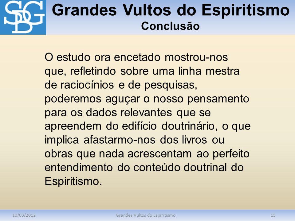 Grandes Vultos do Espiritismo Conclusão