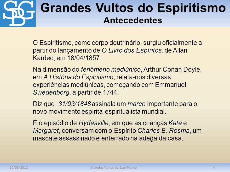 Grandes Vultos do Espiritismo Antecedentes