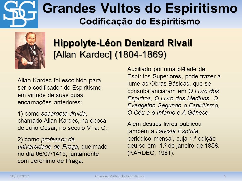 Grandes Vultos do Espiritismo Codificação do Espiritismo