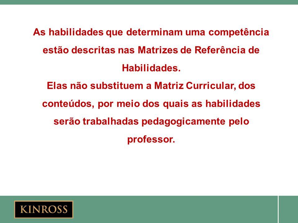 As habilidades que determinam uma competência estão descritas nas Matrizes de Referência de Habilidades.