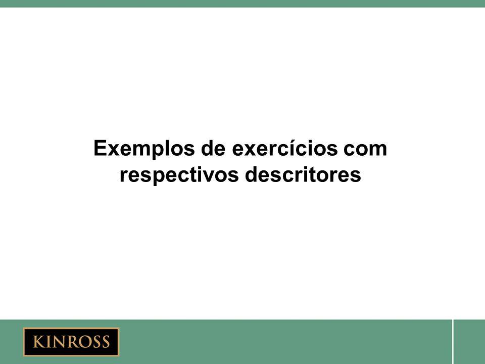 Exemplos de exercícios com respectivos descritores