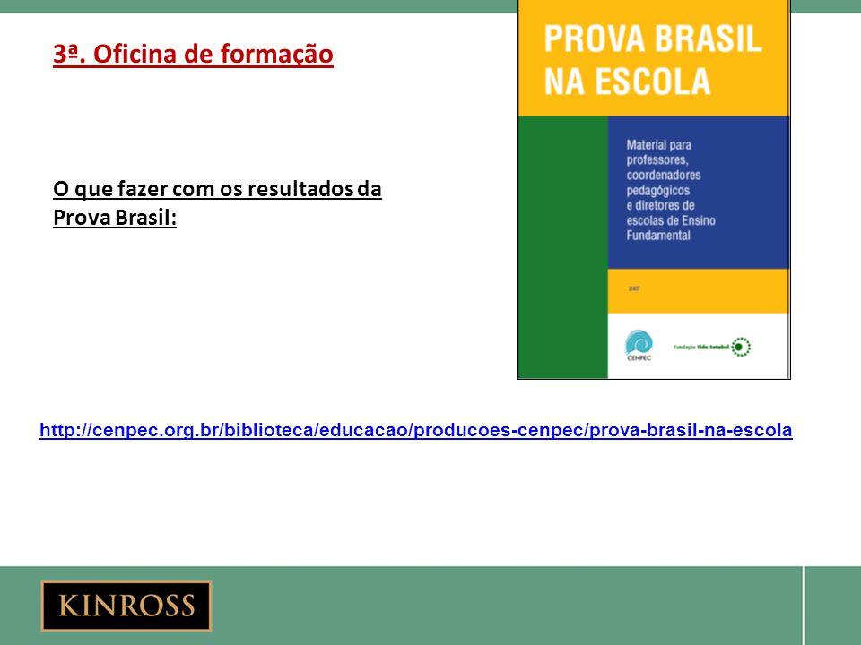 3ª. Oficina de formação O que fazer com os resultados da Prova Brasil: