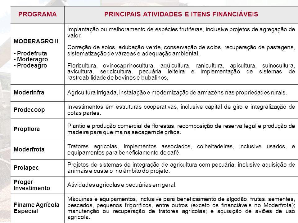 PRINCIPAIS ATIVIDADES E ITENS FINANCIÁVEIS