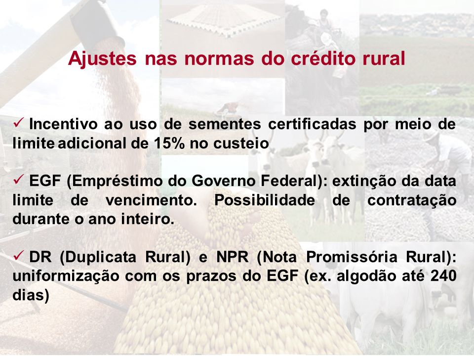 Ajustes nas normas do crédito rural