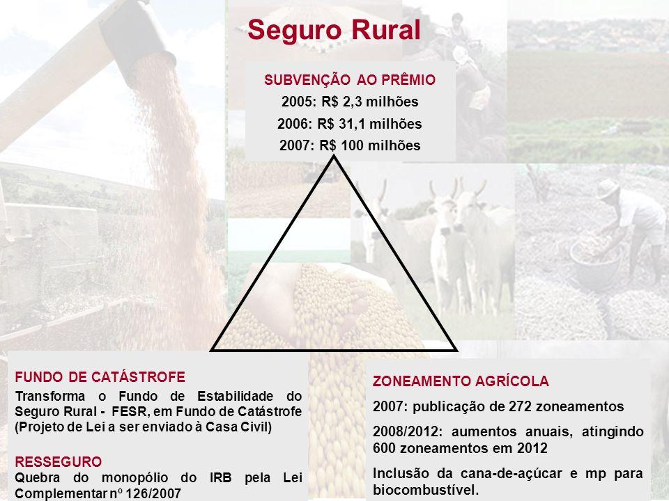 Seguro Rural SUBVENÇÃO AO PRÊMIO 2005: R$ 2,3 milhões