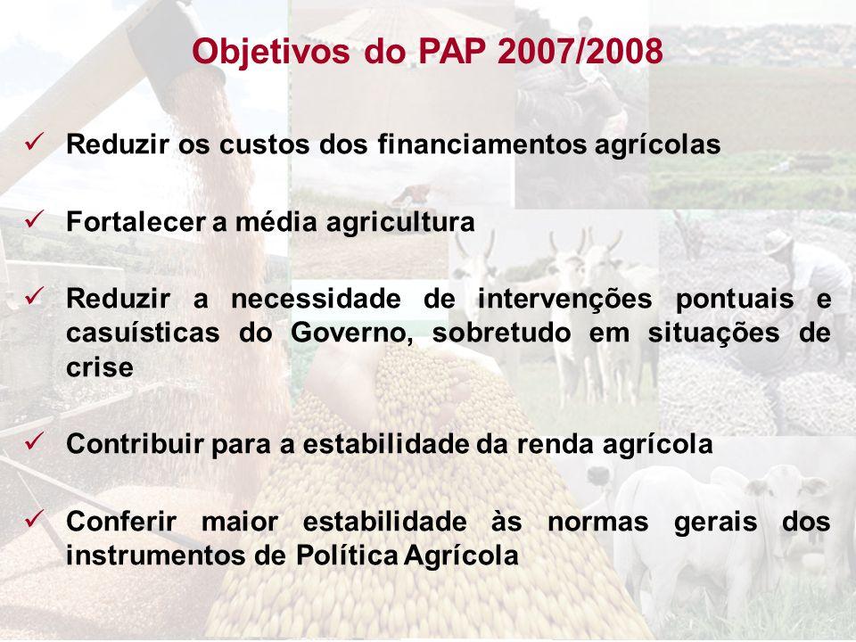 Objetivos do PAP 2007/2008Reduzir os custos dos financiamentos agrícolas. Fortalecer a média agricultura.