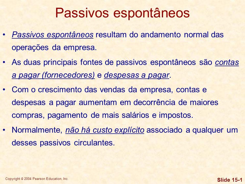 Passivos espontâneos Passivos espontâneos resultam do andamento normal das operações da empresa.