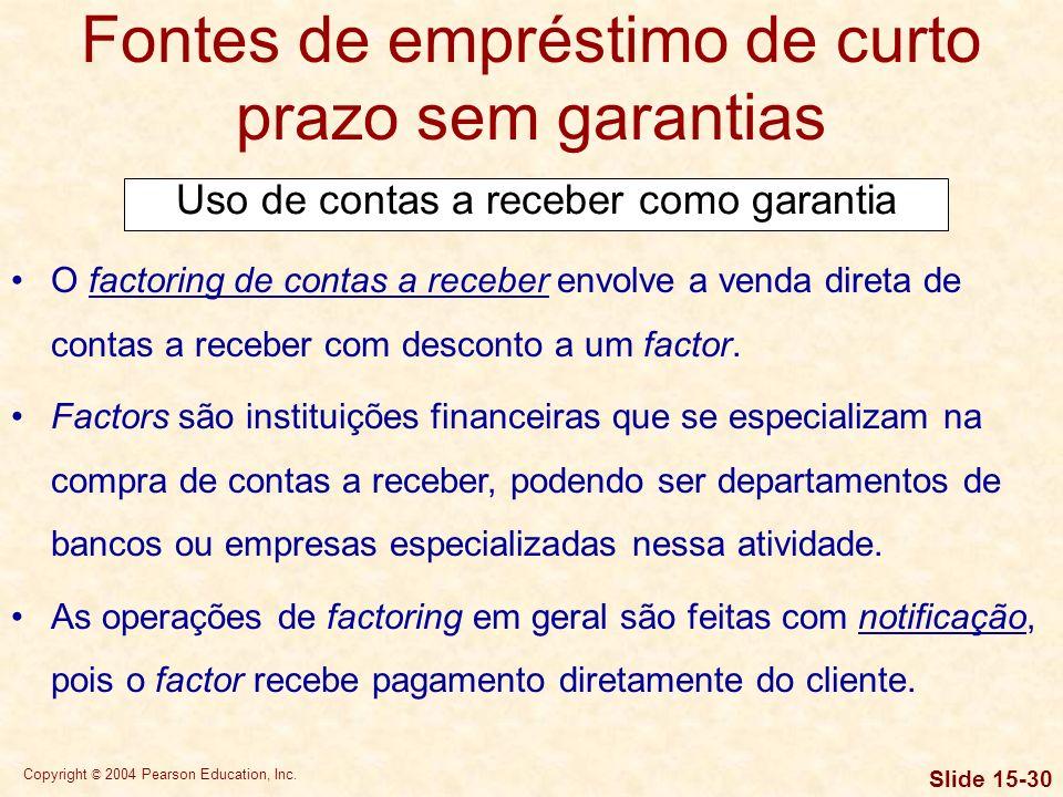 Fontes de empréstimo de curto prazo sem garantias