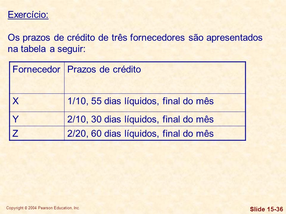 Exercício: Os prazos de crédito de três fornecedores são apresentados na tabela a seguir: Fornecedor.