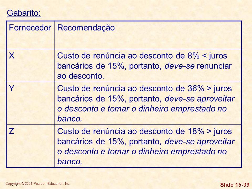 Gabarito:Fornecedor. Recomendação. X. Custo de renúncia ao desconto de 8% < juros bancários de 15%, portanto, deve-se renunciar ao desconto.