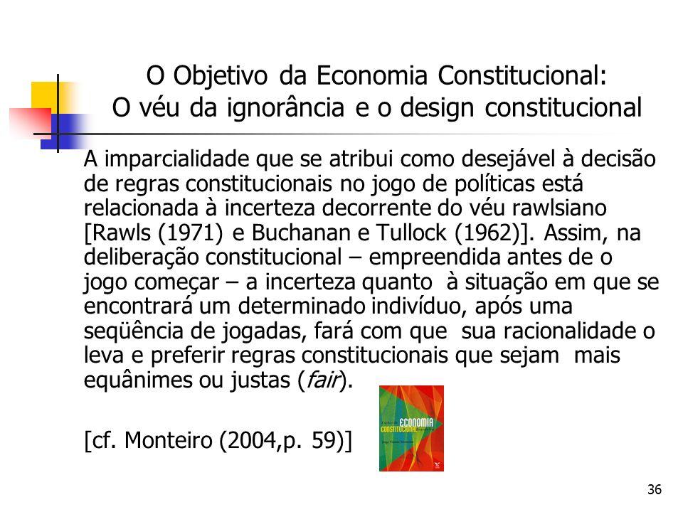 DIREITO E ECONOMIA 24/03/2017. O Objetivo da Economia Constitucional: O véu da ignorância e o design constitucional.