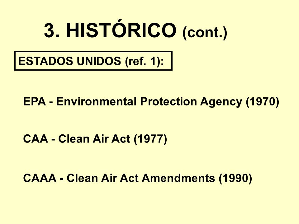 3. HISTÓRICO (cont.) ESTADOS UNIDOS (ref. 1):