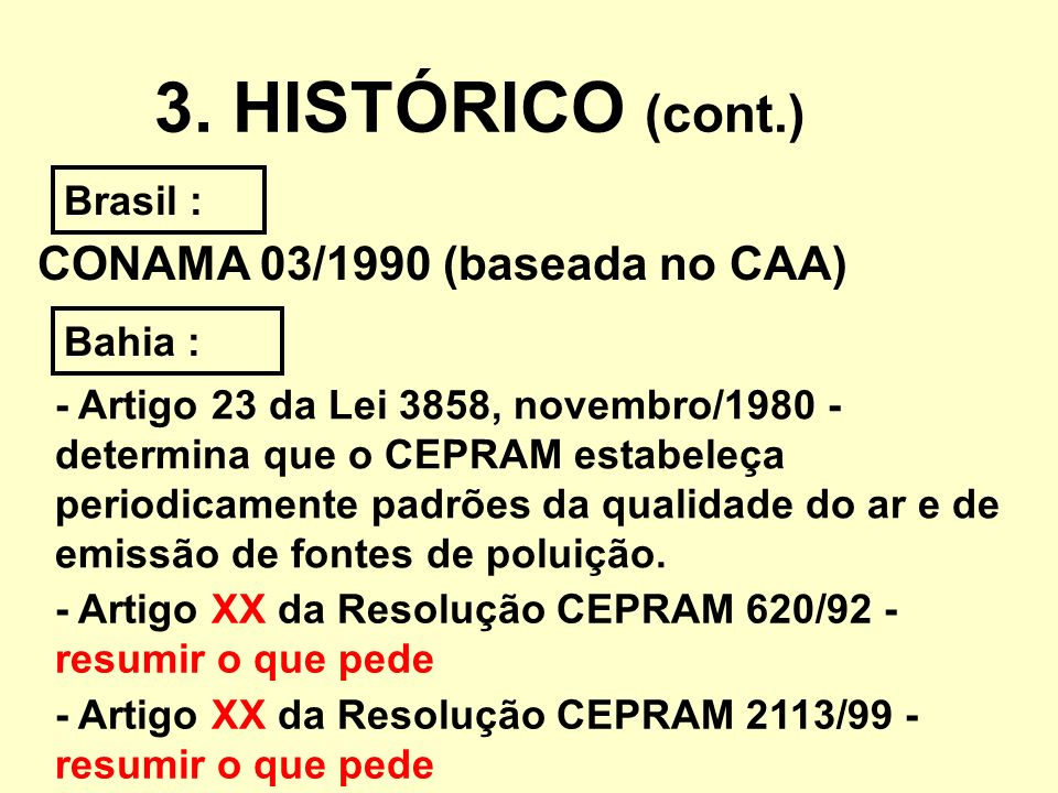 3. HISTÓRICO (cont.) CONAMA 03/1990 (baseada no CAA) Brasil : Bahia :